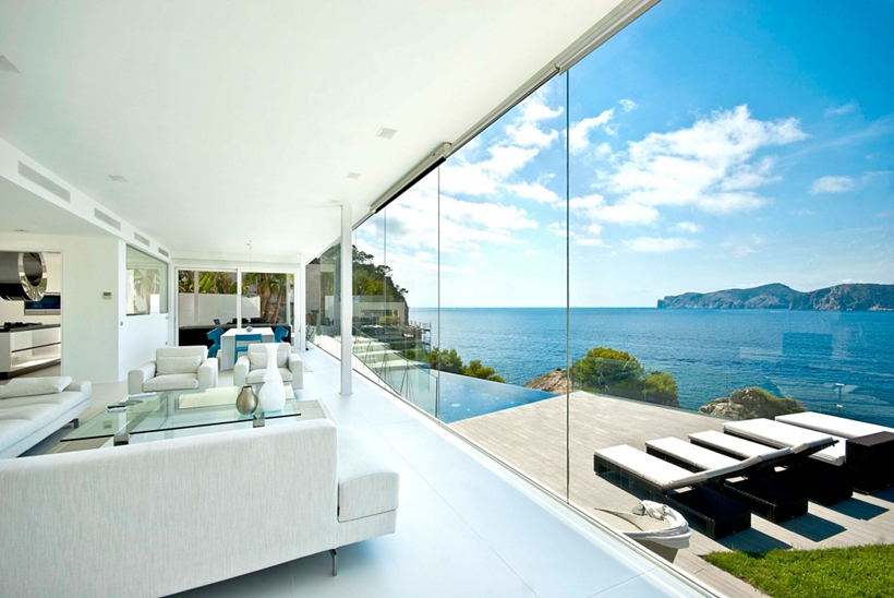 Ocean view from white modern living room