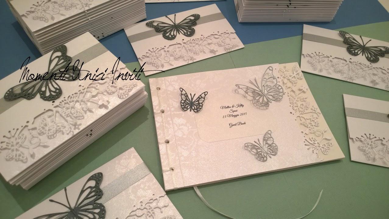 ketty Il Guestbook di Ketty e Matteo in coordinato alle partecipazioni: Mod. Volo LieveColore Argento Partecipazioni intagliate Tema Farfalle