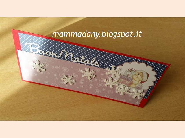 biglietto di natale su misura blu e viola con fiocchi di neve glitter