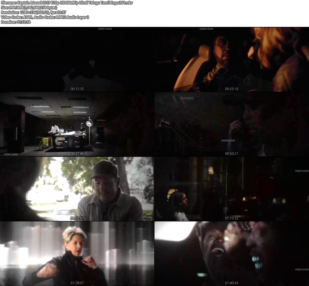 Captain Marvel 2019 720p HDCAM Rip Hindi Telugu Tamil Eng x264 | 480p 300MB | 100MB HEVC Screenshot