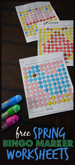 FREE Spring Bingo Marker Worksheets - these preschool, kindergarten, and first grade worksheets are such a fun way for kids to practice color words! What a great center, extra practice, spring break learning, and more for kids.