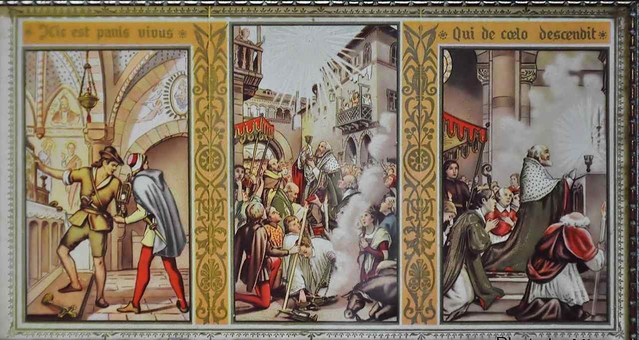 A história do milagre eucarístico de Turim resumida numa sacra