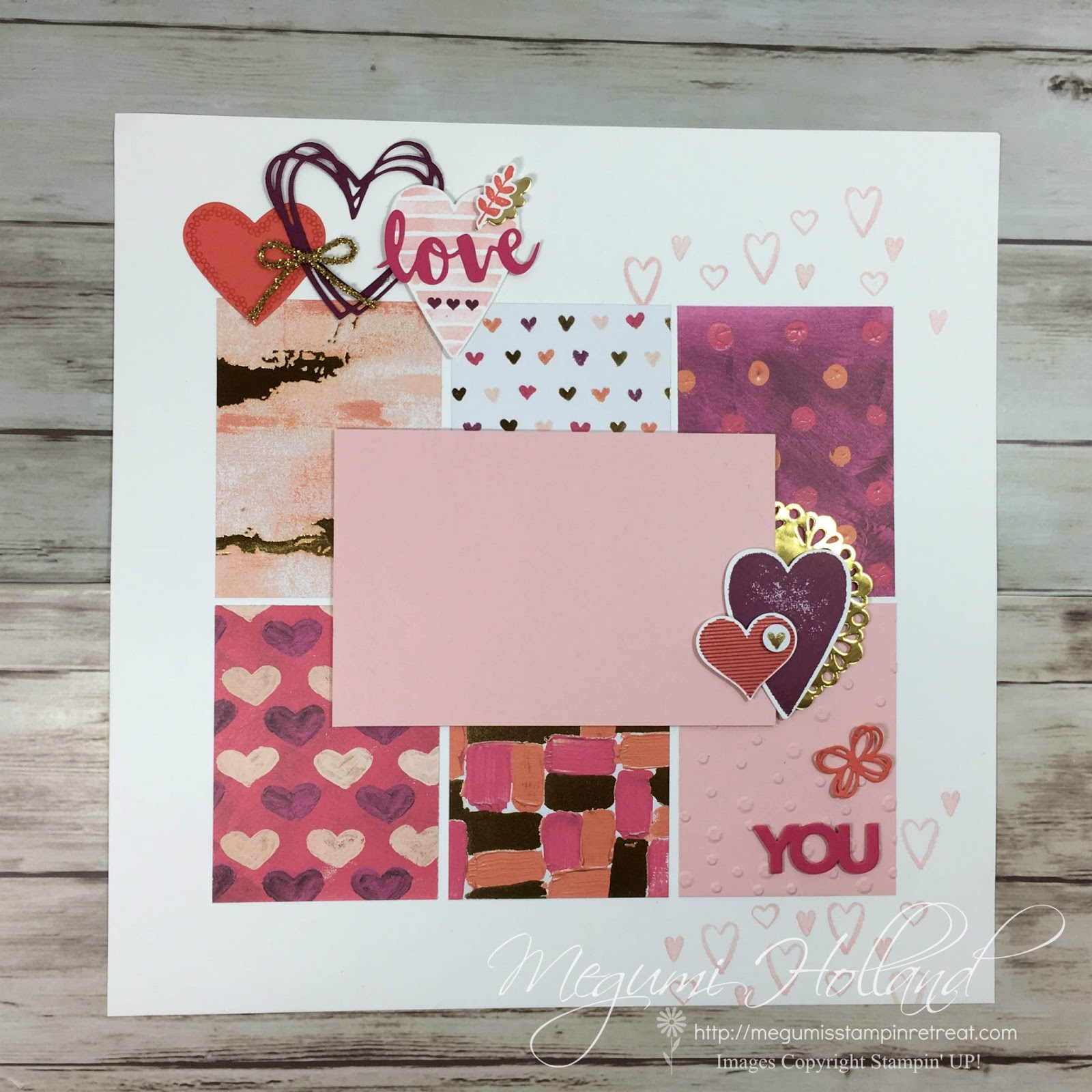 Megumis Stampin Retreat Sure Do Love You Scrapbook Pages January