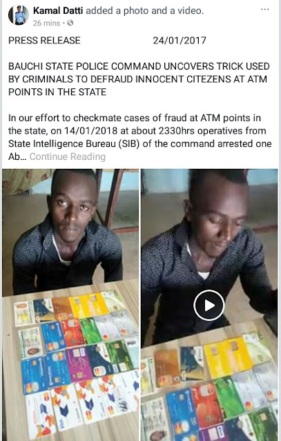 Photo/Video: Bauchi State Police uncovers tricks used by criminals to defraud innocent bank customers at ATM points