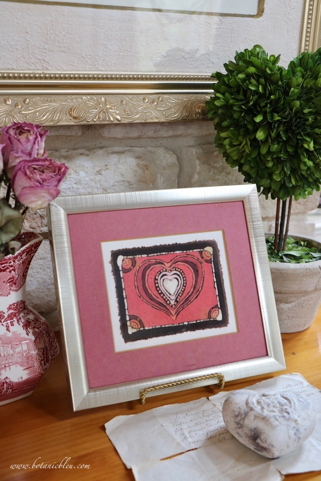 Vintage Valentines display tips for framed batik fabric Valentine made by Austin Texas street vendor in the 1970s