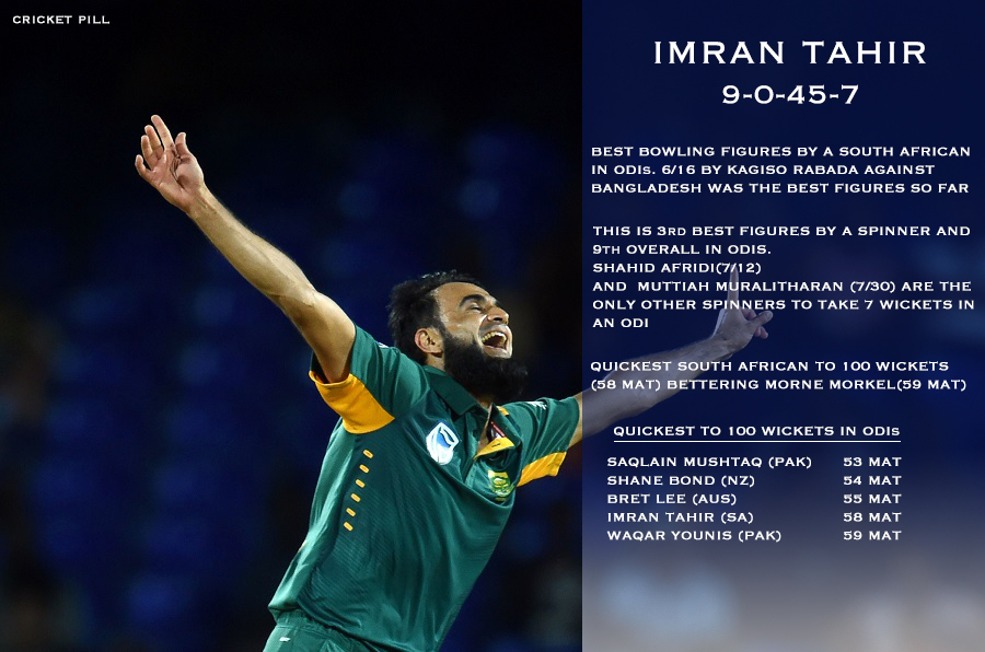 Imran tahir best bowling figures by a South African