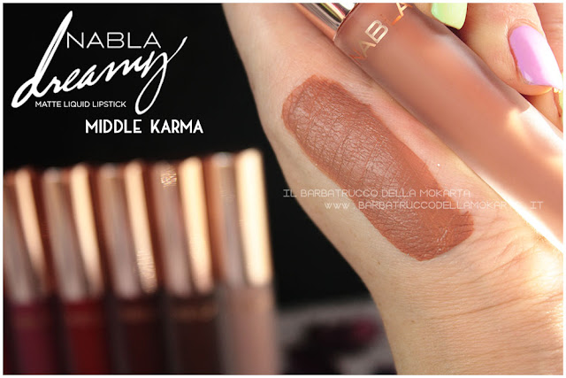 middle karma Dreamy Matte Liquid Lipstick rossetto liquido nabla cosmetics swatches