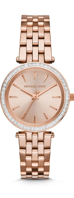Michael Kors Mini Darci Pavé Rose Goldtone Stainless Steel Bracelet Watch
