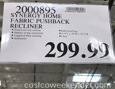 Deal for the Synergy Fabric Pushback Recliner at Costco