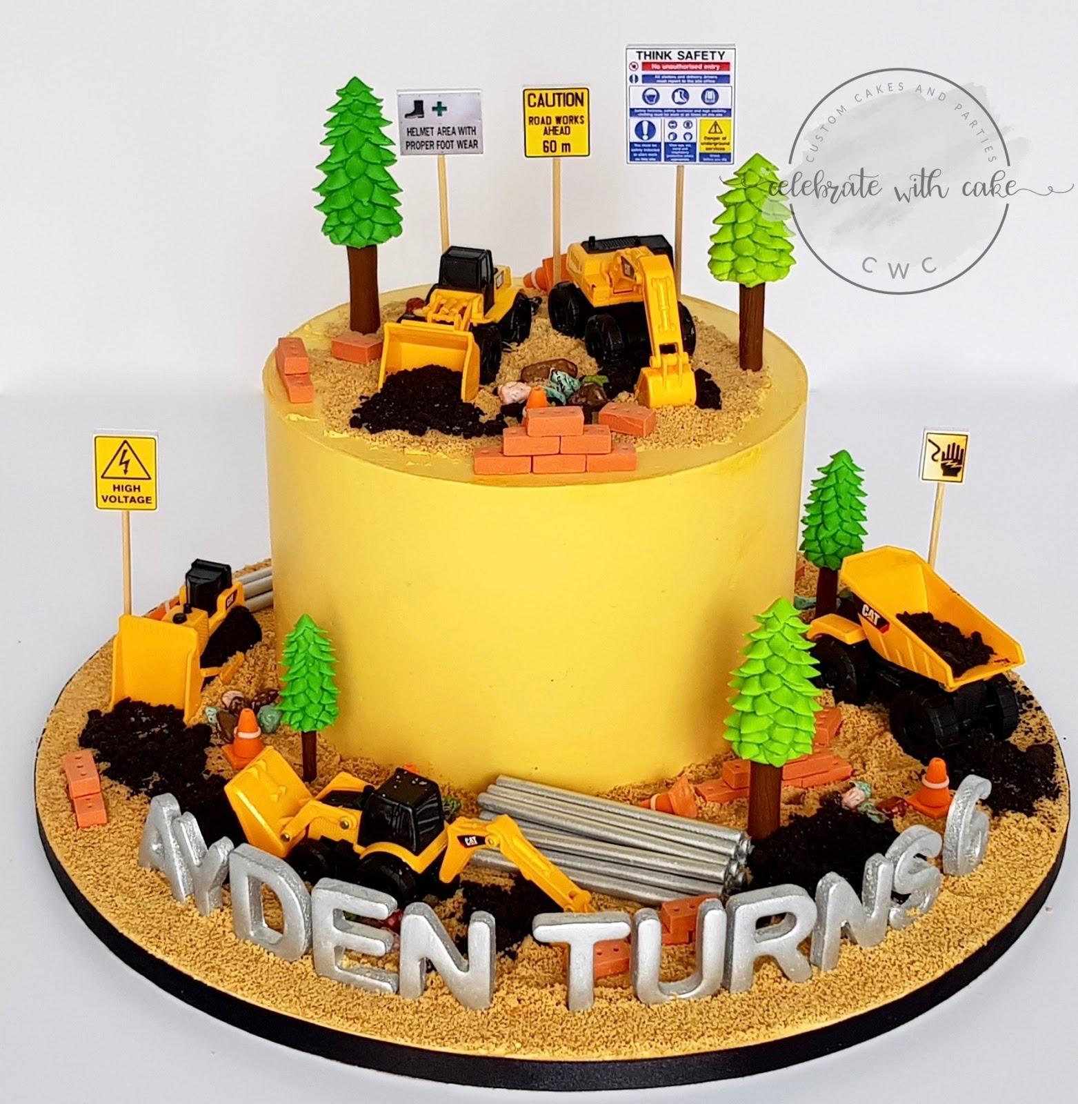 Surprising Celebrate With Cake Construction Site Single Tier Cake Funny Birthday Cards Online Alyptdamsfinfo