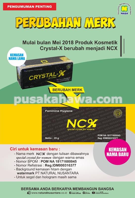 Perubahan merek Crystal X Nasa menjadi NCX Nasa