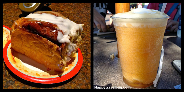 Giant cinnamon roll and LeFou's Brew from Gaston's Tavern at Magic Kingdom