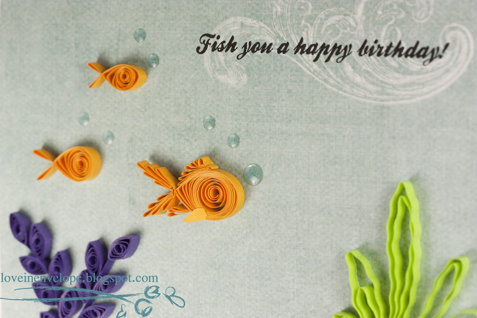 Love In Envelope Fish You A Happy Birthday Quilled Goldfish And