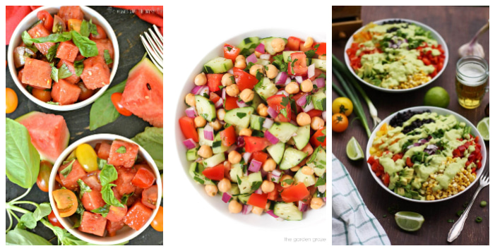 three picnic salads in jewel colours with lots of red and yellow