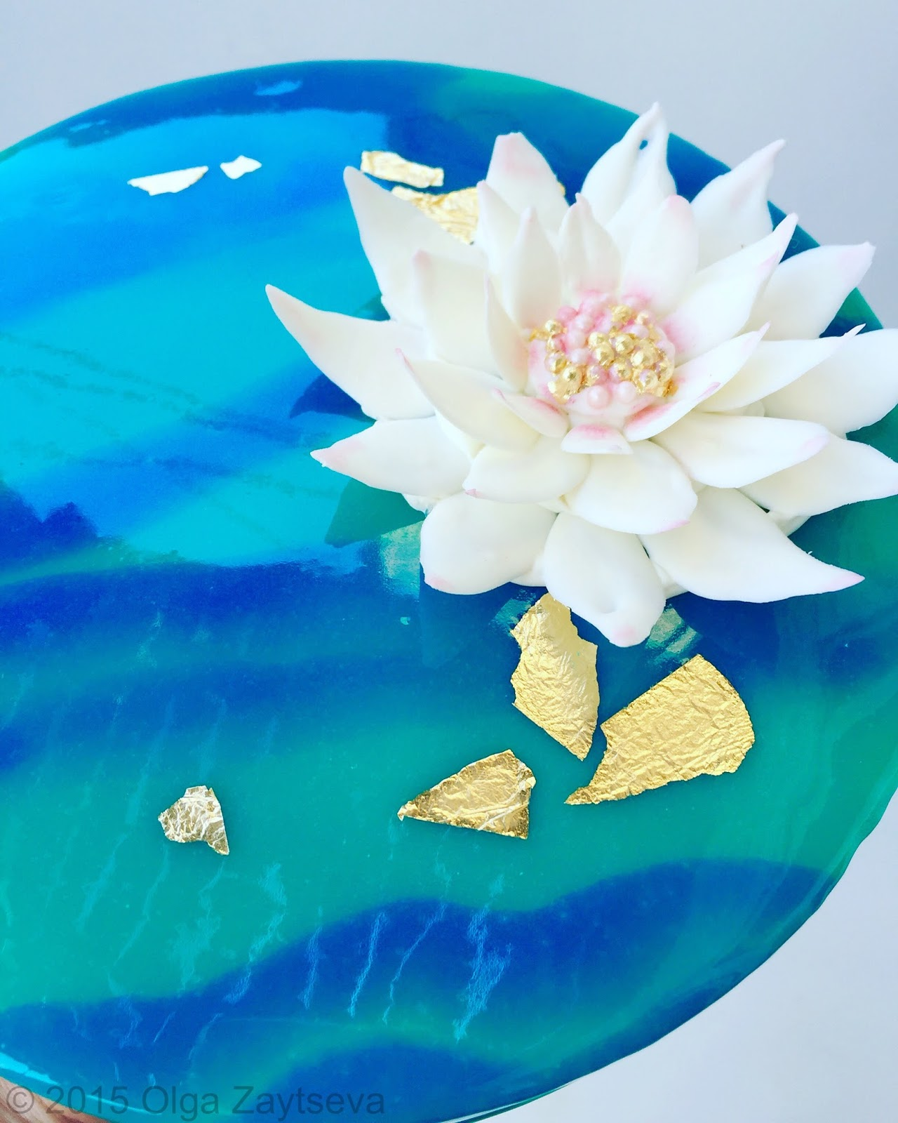 Two Tone Mirror Glaze Cake With Chocolate Water Lily Flower Olga