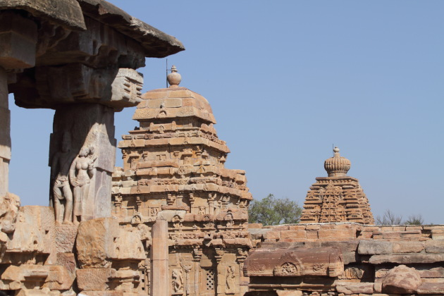 Different styles of temple architecture seen at Pattadakkal temple complex, Karnataka