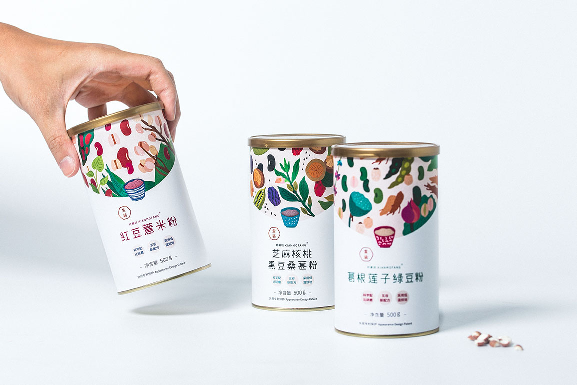 xianmofang grain powder on packaging of the world creative package