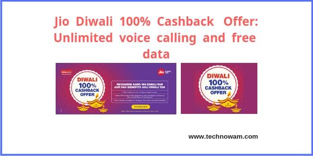 Jio Diwali 100% Cashback Offer