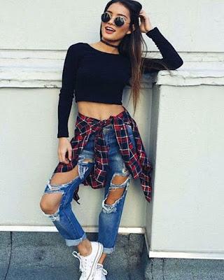 outfits urbanos con jeans rotos tumblr 2019