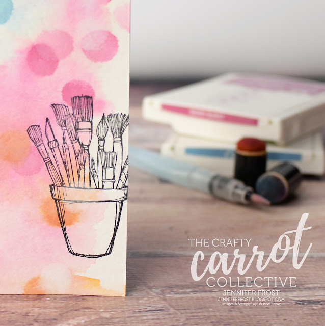 Crafting Forever, Stampin' Up!, Customer rewards program, Jar of paint brushes, The Crafty Carrot Collective, Watercolor background, Papercraft by Jennifer Frost