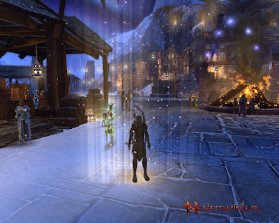 A ranger standing in the middle of the winter festival in Neverwinter