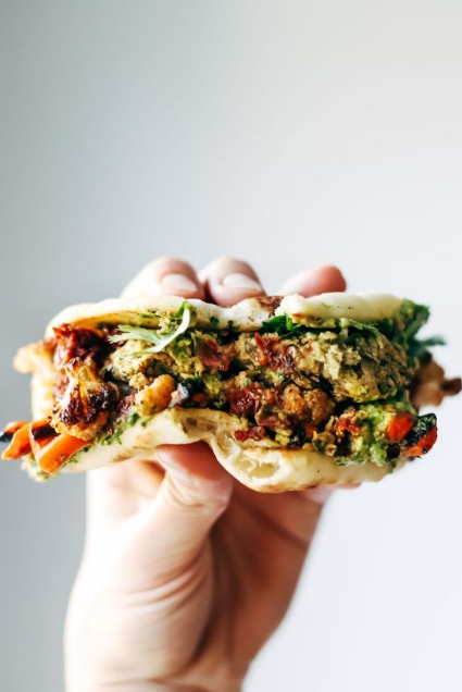 spicy falafel and roasted veggie naan-wich