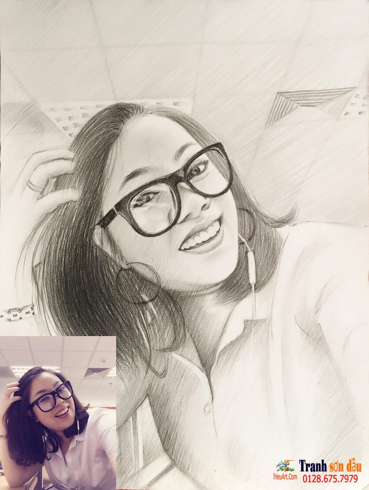 vẽ chân dung chì tặng bạn gái