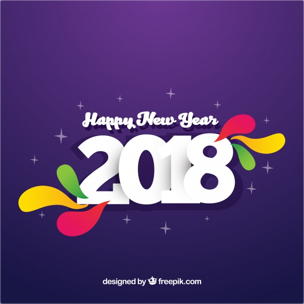 Simple purple new year 2018 background with colourful elements Free Vector
