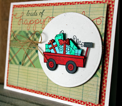 Wagon Christmas card by Larissa Heskett using Newton's Nook Designs Stamps
