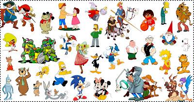 Collage de personajes de dibujos animados