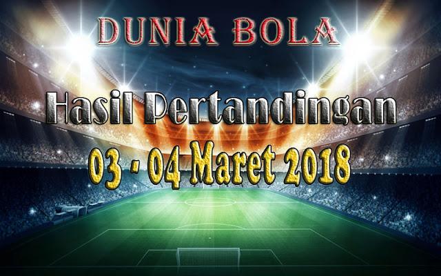 Hasil Pertandingan Sepak Bola Tanggal 03 - 04 Maret 2018