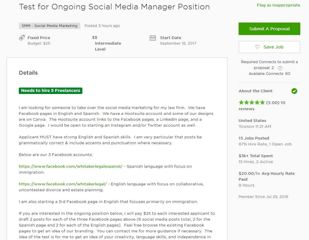 Upwork Cover Letter Sample For SMM Social Media Marketing