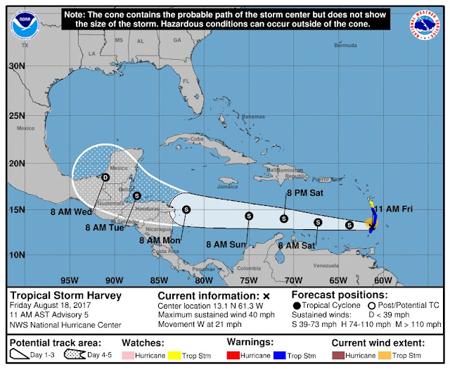 National Hurricane Center: Tropical Storm Harvey Projected Path