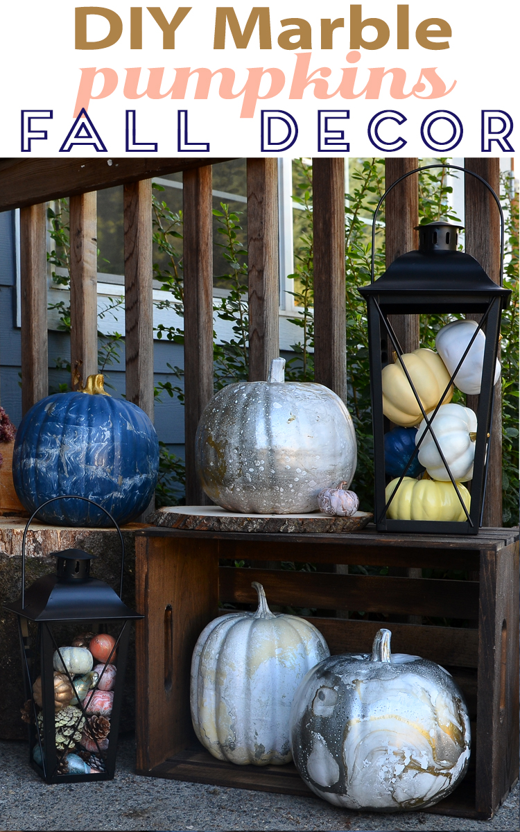 Marble Pumpkins Decorations Lanterns And Fall Front Porch