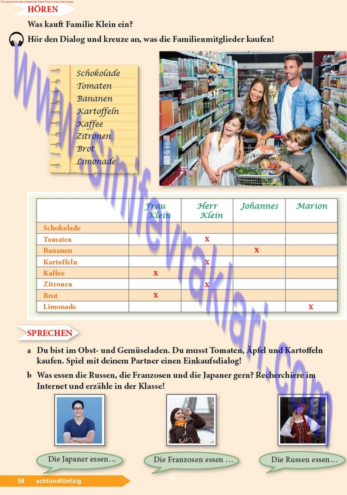 9 Sınıf Almanca A11 Ders Kitabı Cevapları Sayfa 58 Ders Kitabı