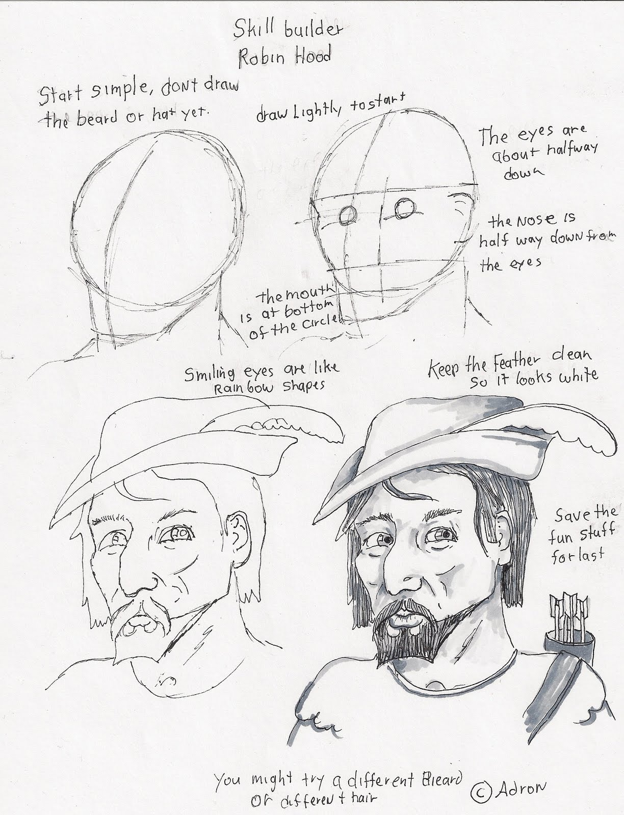 Adron S Art Lesson Plans How To Draw A Portrait Of Robin