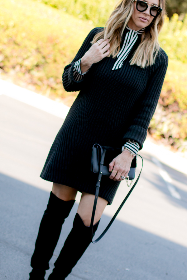how to wear a sweater dress in cold weather