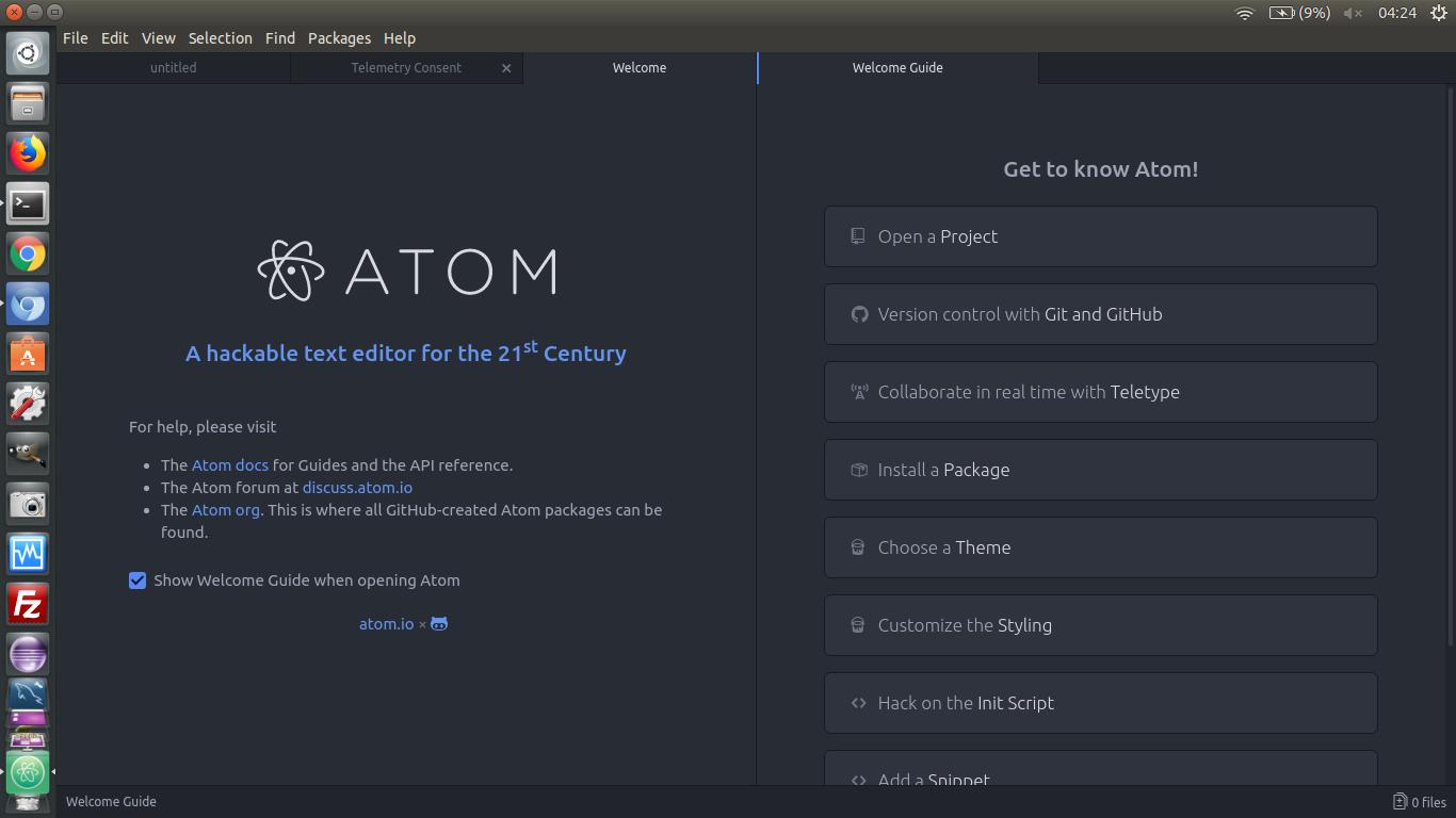 Cara Menginstall Atom di Linux Ubuntu