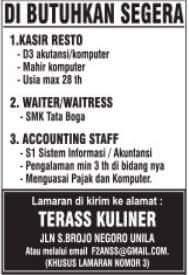 Lowongan Kerja Lampung Terbaru di Terass Kuliner Lampung Terbaru Januari 2018.