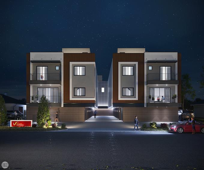 Vibrant Town homes, Dallas, Texas, USA - Night Render