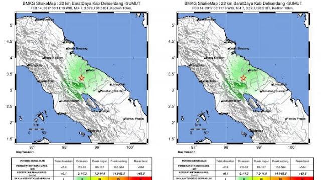 Dua Gempa Kuat yang Guncang Kota Medan Malam Ini