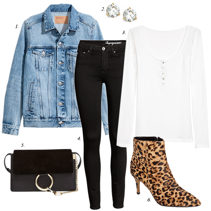 leopard booties denim jacket spring outfit
