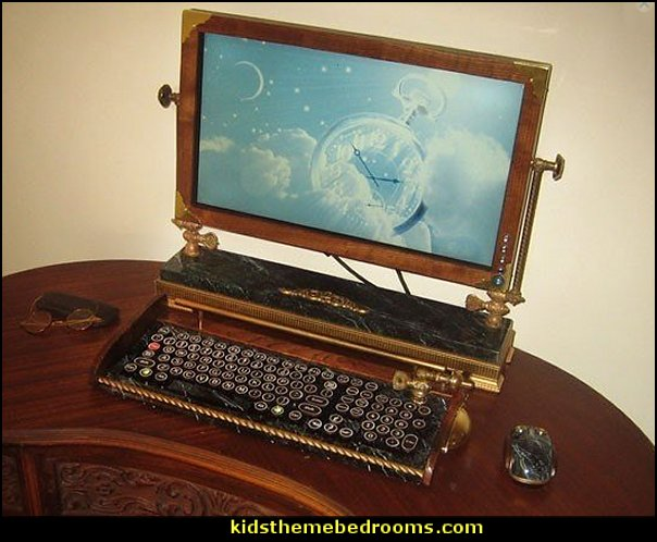steampunk vintage Victorian Monitor-Wireless Keyboard-Mouse Combo Victorian Steampunk Style