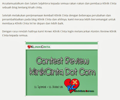 Kontes, contest SEO, Klinuk Cinta, Review, blog SEO friendly, peraduan