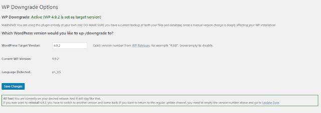 Cara Downgrade Versi Wordpress Yang Sedang Digunakan