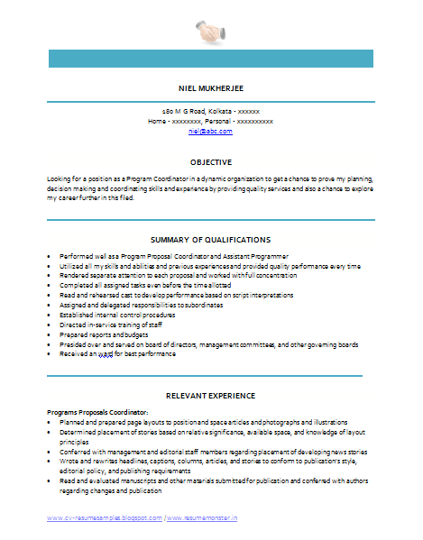 over 10000 cv and resume samples with free download  program coordinator resume sample