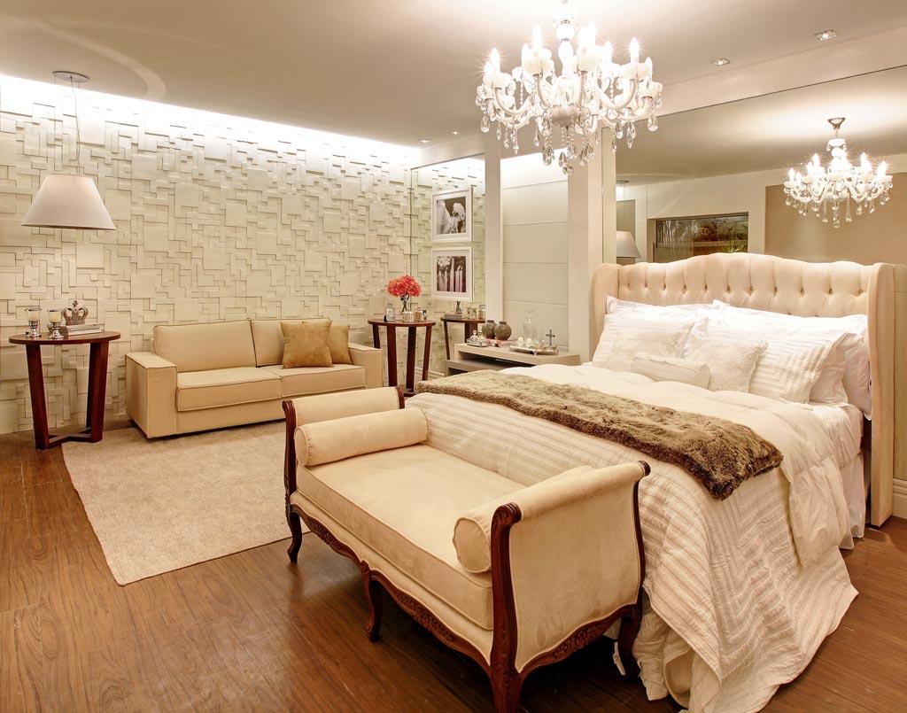 construindo minha casa clean 30 quartos de casal decorados com lustres de cristais. Black Bedroom Furniture Sets. Home Design Ideas