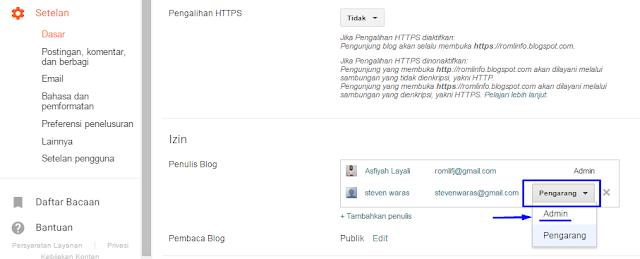Cara Mudah Menambah dan Mengganti Admin Blogspot