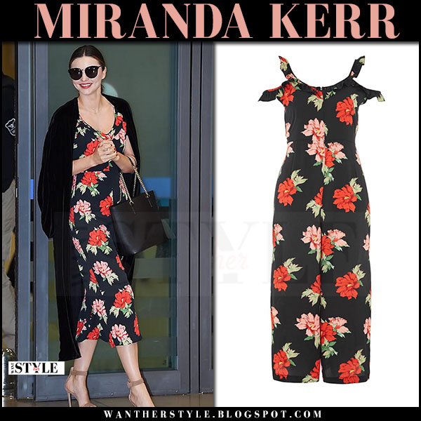 Miranda Kerr in floral print jumpsuit topshop and suede sandals gianvito rossi portofino what she wore april 2017