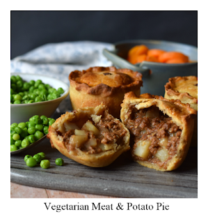 Made with hot water crust pastry, these vegetarian meat & potato pies are pure comfort food.  They make a delicious, yet humble, meal served with a few vegetables.